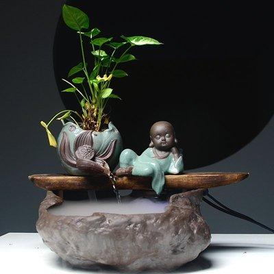 流水器家居客廳裝飾現代禪意陶瓷辦公室桌面加濕擺件開業喬遷禮品