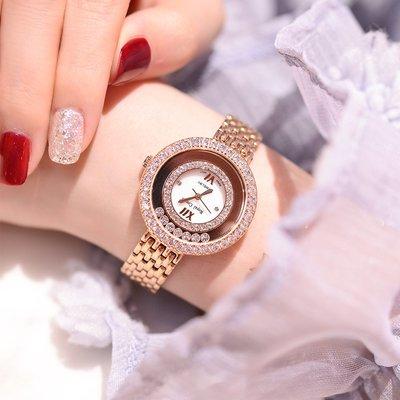 薇安手錶集市~2021年新款高端輕奢奢華時尚鑲鉆時來運轉水鉆手錶女防水鋼帶鍊條