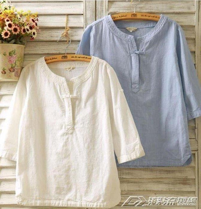 民族風女裝襯衫七分袖亞麻短袖寬鬆百搭棉麻T恤上衣女