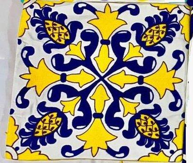 【玫瑰物語】黃色鳳梨花滿繡抱枕45x45cm含枕心幾何圖形電繡花不是印花的靠枕寢具家飾藍色