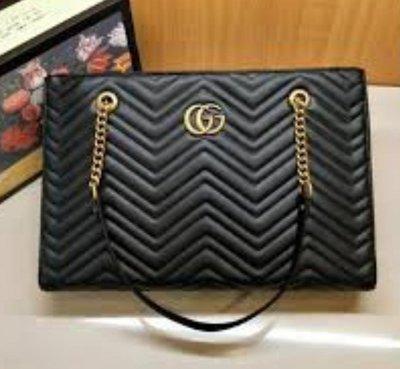 全新  Gucci 524578 黑色皮革山型壓紋鍊條媽媽包