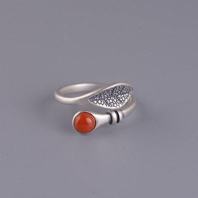 精緻life 純銀葉子戒指S925銀復古時尚簡約樹葉鑲嵌南紅瑪瑙開口指環森系女