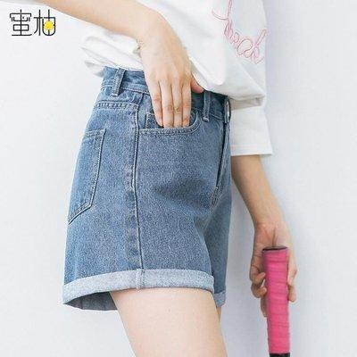 YEAHSHOP 2018韓版寬鬆牛仔短褲女夏高腰倦邊闊腿超短褲學生顯瘦BF破洞熱褲214390Y185