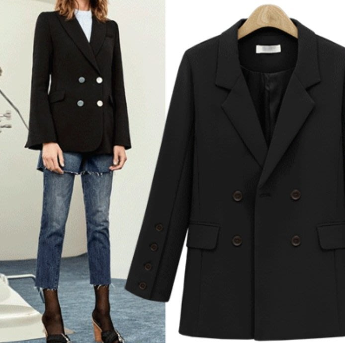GOGO SHOP☆╭歐美 新款 大碼女裝 中長款女士西裝 百搭寬鬆雙排釦西裝【Y1938】S-XL個性西裝外套