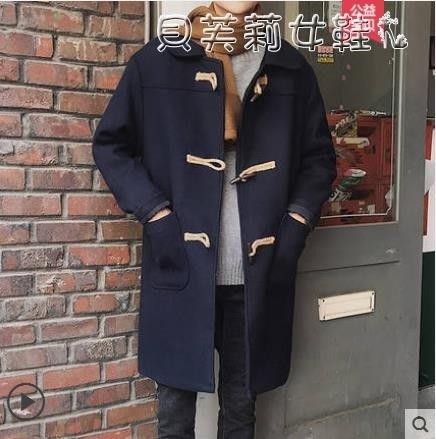 熱銷風衣秋冬季復古牛角扣呢子大衣男中長款韓版帥氣毛呢風衣青年寬鬆