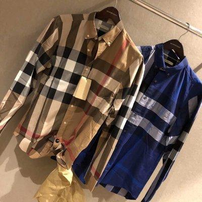 【全新正貨私家珍藏】Burberry 經典格紋棉質男款長袖襯衫((薄款))