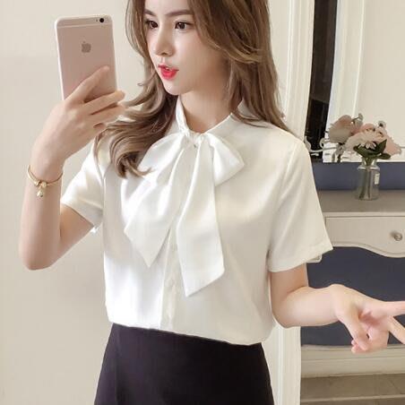 雪紡襯衫 短袖雪紡衫 新款韓版蝴蝶結寬松顯瘦上衣 職業裝—莎芭