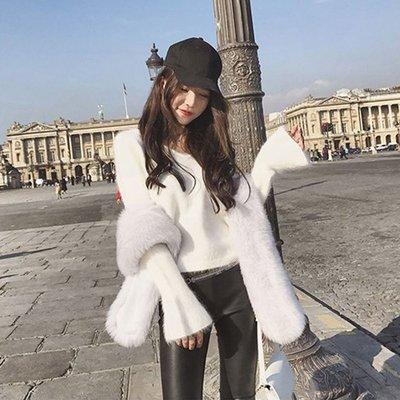 水貂絨毛衣2020年新款女秋冬寬松外穿套新頭短款長袖性感v領新針織衫ak