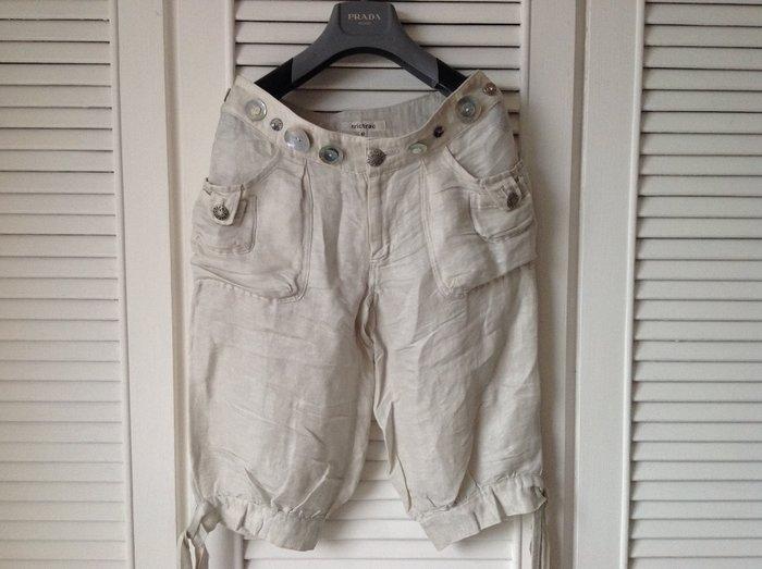 全新吊牌$27800 Trictrac 淺米色貝殼釦蝴蝶結褲腳五分燈籠褲