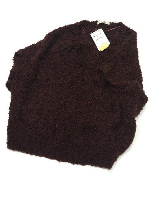 全新未穿 Zara 棗紅色寬版五分袖毛衣
