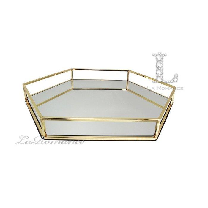【芮洛蔓 La Romance】威尼斯系列六角形金邊鏡面托盤 (大) / 置物盤 / 餐盤