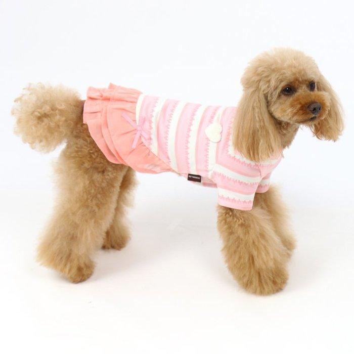 貝果貝果 日本 pet paradise  發熱衣 超柔軟 三層雪紡條文連身裙  [D12012] 大狗