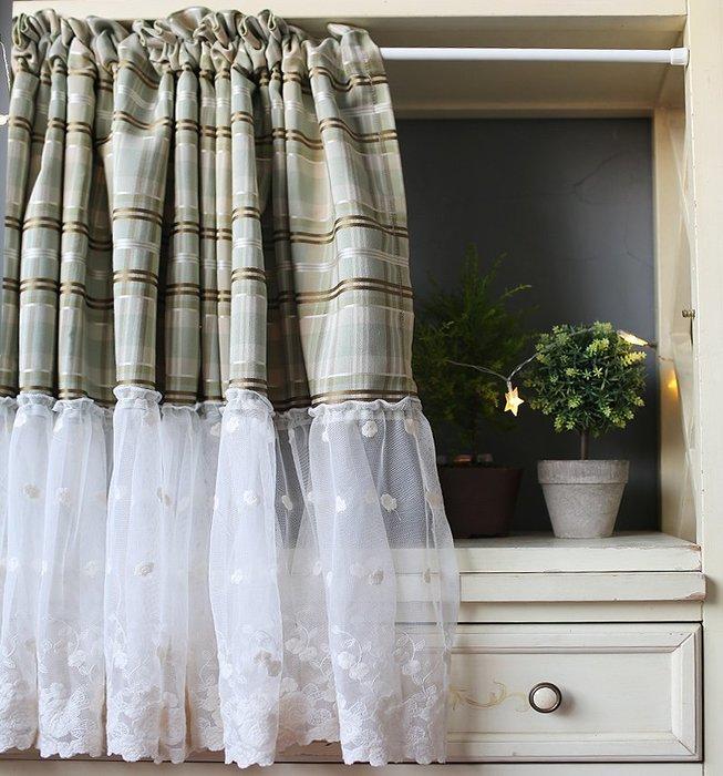 鳶尾綠色咖啡色格子網紗玫瑰門簾 半簾 穿桿短簾 半截簾 窗簾 柜子拉簾