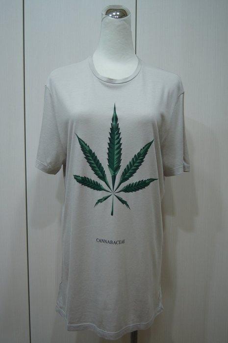 Neil Barrett 灰色綠葉圖棉T恤       原價  12300  特價  4500
