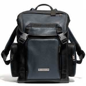 Coco小舖COACH 71317 THOMPSON COLORBLOCK LEATHER BACKPACK 藍/黑雙色