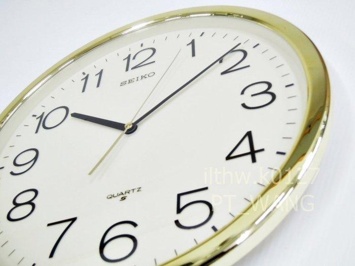 《《 PT屏信時計 》》日本 精工SEIKO 金框 標準款 時鐘 掛鐘 QXA020A,QXA 020 (有靜音秒針款)