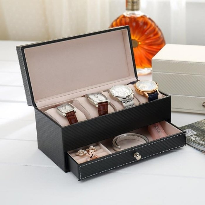 手錶盒索美新款皮質4座手錶收納盒男士商務抽屜式四座皮革手錶盒一件免運