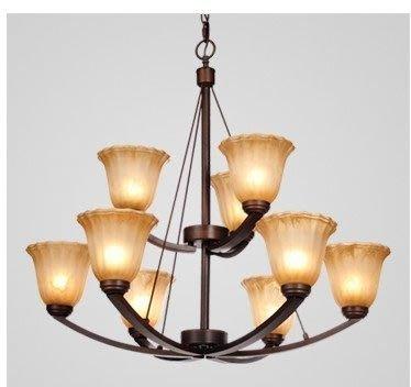 {美學}雙層歐式吊頂燈 美式鄉村復古鐵藝燈 客廳臥室餐廳燈80426+MX-2037
