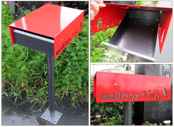 ☆成志金屬☆當季新產品*高品級全不鏽鋼轉蓋信箱,紅黑內斂奢華優雅時尚,含直立桿