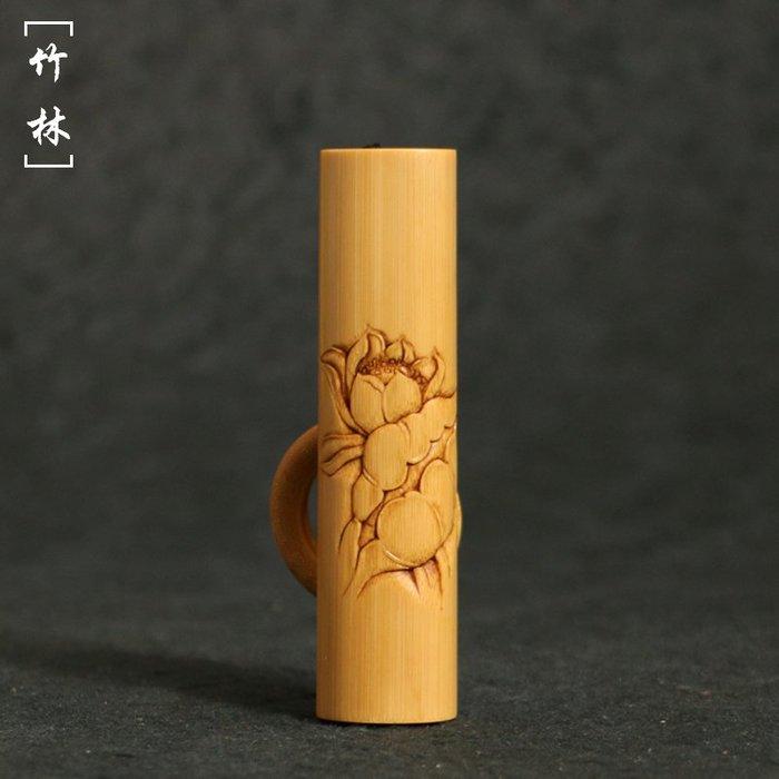 雅齋 名家書文精品純手工雕刻實心竹手把件竹雕玉竹把玩小掛件掛墜印章 -zlyq410