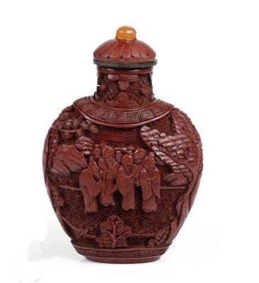 清乾隆剔紅雕漆歷史典故鼻煙壺