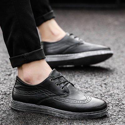 2018春季新款英倫布洛克鞋男士休閑皮鞋韓版潮流百搭復古男商務鞋