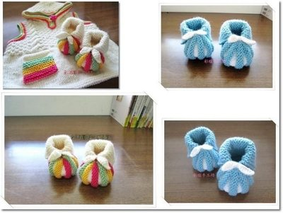 ☆彩暄手工坊☆baby南瓜鞋(雙色、三色配)材料包~多色任選! 手工藝材料、編織工具、進口毛線 ~