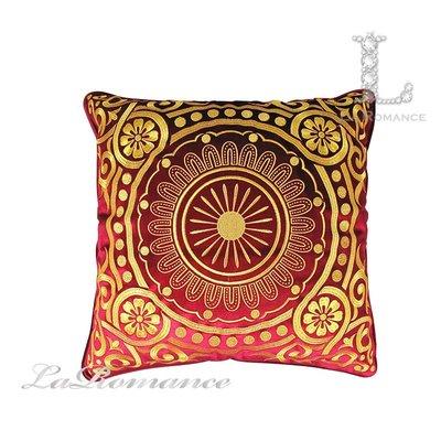 【芮洛蔓 La Romance】 奢華系列歐式圓形金色圖騰抱枕 - 紅色