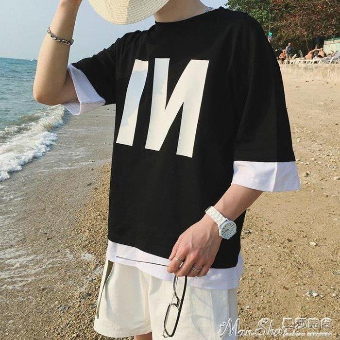 大碼上衣夏季港風印花假兩件短袖t恤男加大碼五分袖上衣