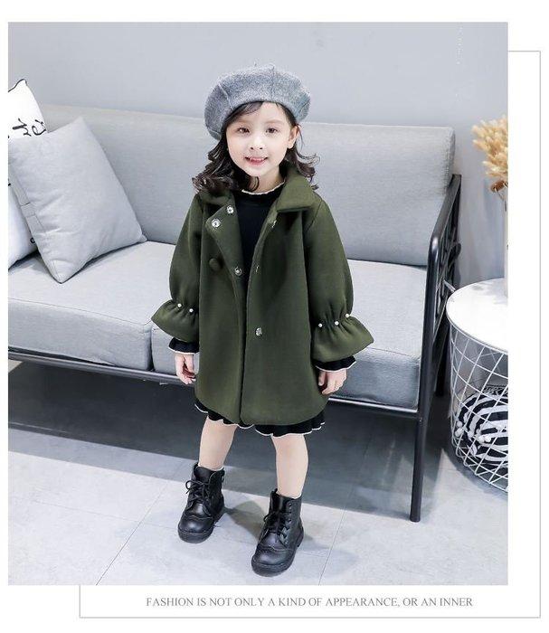 【溜。溜。選物】早秋新款*加厚毛呢純色保暖外套 夾克 冬裝 女童適穿