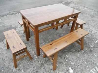 A004  {崙頂傳統原木家具行}~杉木實木格子桌配杉木板凳整組 接受訂做.訂色  請詢問