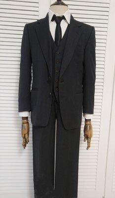 歐碼46 浪凡Lanvin 鐵灰色單排英派紳士三件式西裝套裝