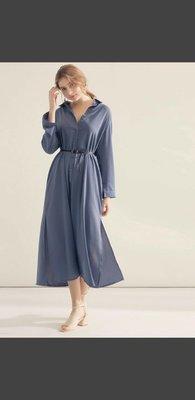 質感舒適涼感 灰 藍  長襯衫 長裙 連身裙 長洋裝 罩衫 薄外套 可兩穿