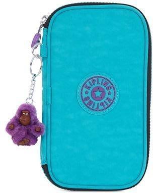 愛麗絲小舖 ~ 全新真品 Kipling Kay Pencil Case 鉛筆袋-Cool Turquoise色