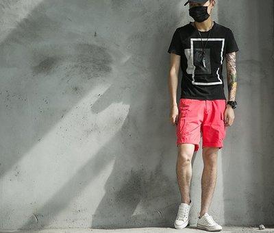 短褲 夏季日系沙灘褲休閒短褲男青年多袋工裝寬鬆褲純色大褲衩余文 精品鞋包