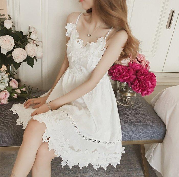 ❤Shinena 千奈公主❤ 韓國*實拍甜美風鏤空蕾絲露背洋裝
