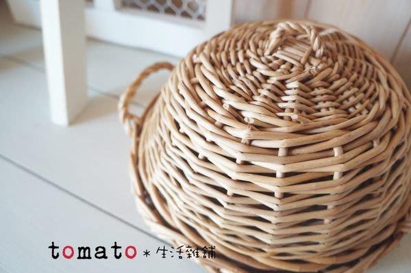 ˙TOMATO生活雜鋪˙日本進口雜貨法式天然素材半圓型編織麵包乾糧琺瑯收納籃(大款)