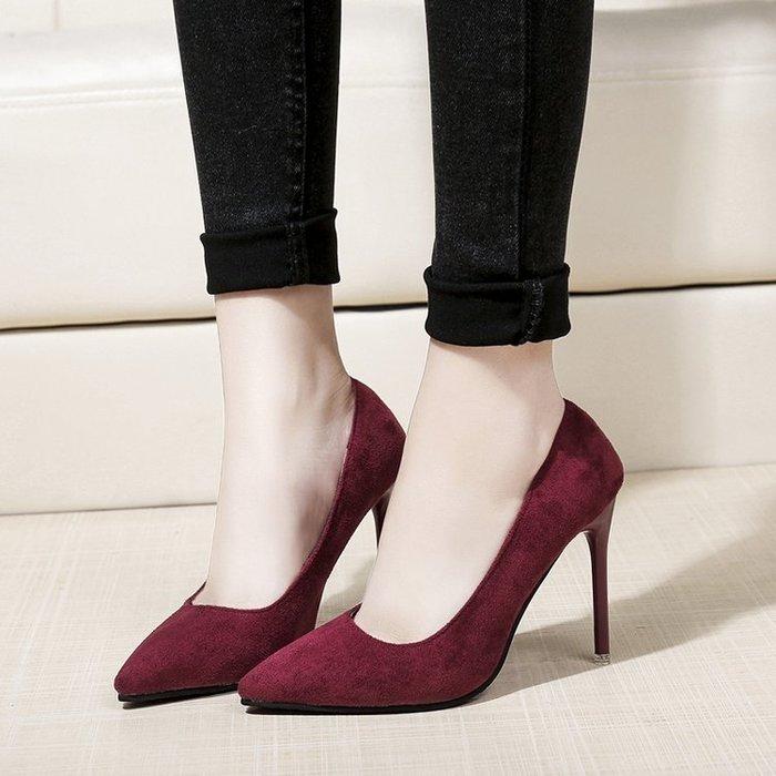 (免運)高跟鞋女春季新款細跟尖頭單鞋淺口百搭黑色絨面職業ol工作鞋【莉芙小鋪】