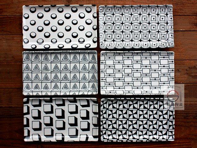 +佐和陶瓷餐具批發+【XL070720-7ABCDEF幾何圖騰長皿-日本製】日本製 幾何形 圖騰 長皿 盤 西餐 家用