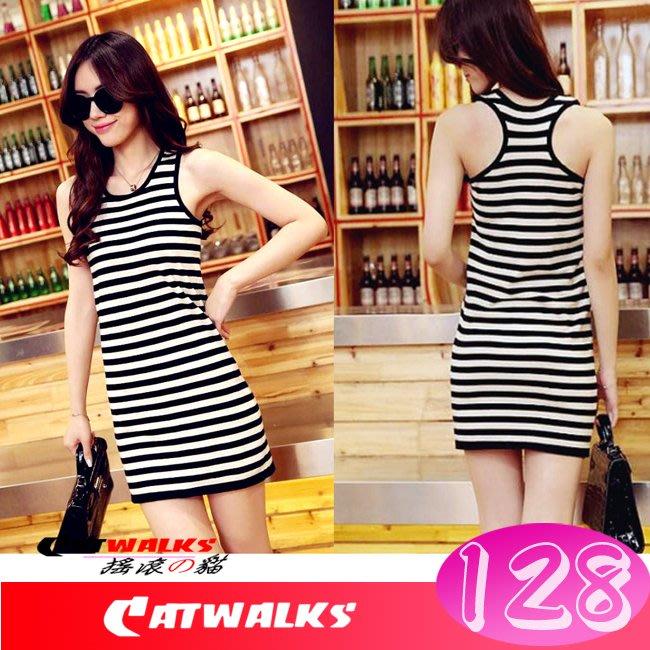 【 Catwalk's 搖滾の貓 】韓版中長款舒適工字背黑白條紋無袖洋裝 ( 黑白條紋 )