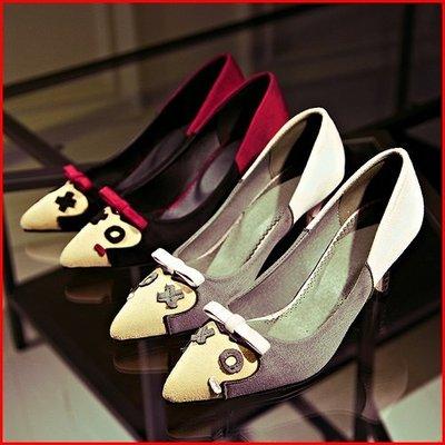 跟鞋*鞋館Shoes hall*【A5508】玩美韓式~俏皮百搭拼接尖頭高跟鞋~2色~