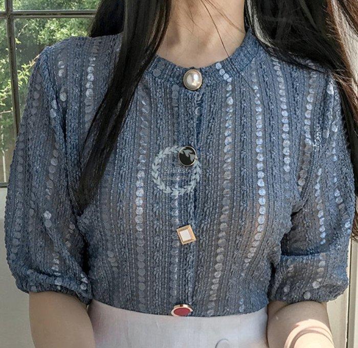 【2A Two】韓🍍復古寶石釦🍍圓領泡泡袖上衣『BA0630』