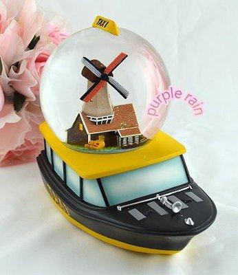 紫雨森林 旋轉音樂鈴水晶球 雪花音樂盒-荷蘭水上計程車 遊艇 風車 木屐鞋