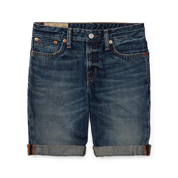 美國百分百【Ralph Lauren】牛仔短褲 休閒 五分褲 褲子 Polo 牛仔褲 RL 小馬 青藍刷白抓紋 I164