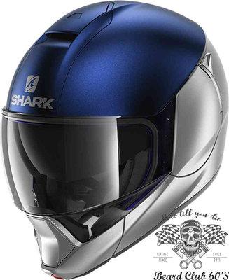 ♛大鬍子俱樂部♛ SHARK® Evojet Blank  Dual 法國 復古 Jet 可掀式 可樂帽 安全帽 藍/銀