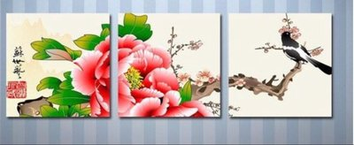 裝飾無框畫 三聯畫 喜上眉梢壁畫 60*60*1.2公分賣場