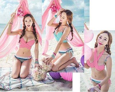☆丁丁蜜桃☆14030粉色甜美交叉綁性感鋼圈比基尼泳衣泳裝,直購價690元,現+預7-10