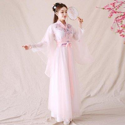 古裝古裝仙女飄逸中國風套裝櫻花超仙仙氣...