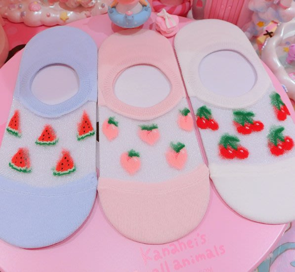 淺口隱形蕾絲船襪冰絲女士草莓西瓜襪子無痕防滑短襪薄款透氣