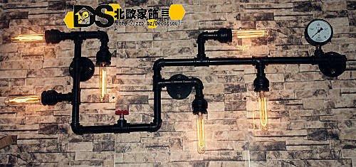 DS北歐家飾§ loft工業 金屬水管氣壓錶三底座頭 壁燈 掛飾 吸頂仿舊復古美式鄉村 創意設計
